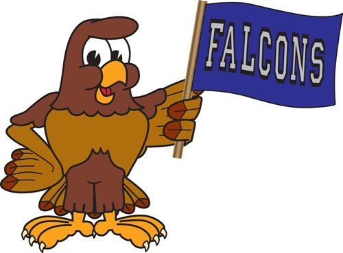 "A falcon holding a flag that says ""Falcons"""